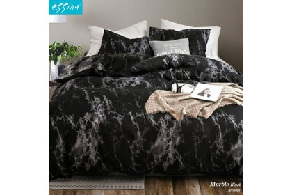 Essina Marble Quilt Cover & Fitted Bed Sheet set Cadar Microfiber Set King / Queen / Super Single / Single