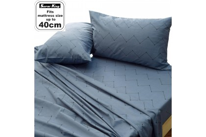 "Essina Kensington Super King Bedsheet set 100% Cotton 620 Thread Counts ( Fitted sheet fit maximum 16"" High Mattress)"