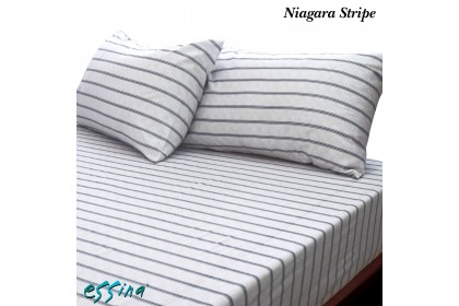 Essina Niagara Stripe 100% Cotton , 620TC Fitted Bed Sheet set 33CM ( Belle Collection )