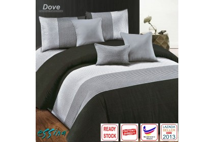 Essina Dove Modern Design Quilt Cover & Fitted Bed Sheet set Microfiber Plush Fitted Bedsheet Cadar Queen / King / Super Single ( Larossa Collection )