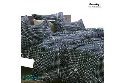 Essina Brooklyn Fitted Bed Sheet set Microfiber Plush Cadar Queen / King / Super Single ( Arcadia modern design )(Fit up to 13-inch High Mattress)