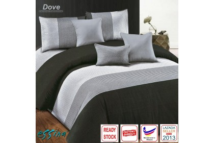 Essina Dove Modern Design Comforter & Fitted Bed Sheet set Microfiber Plush Fitted Bedsheet Cadar Super King/King/Queen/Super Single/Single ( Larossa Collection )