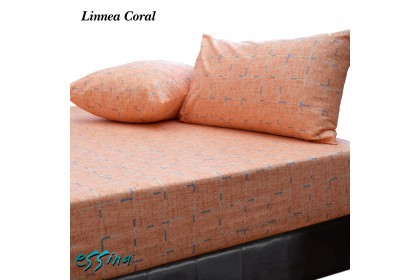 Essina Linnea Coral 100% Cotton , 620TC Fitted Bed Sheet set 33CM Cadar King / Queen  ( Belle Collection )