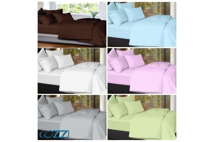 Cozzi Rainbow Microfiber Plush Fitted Bedsheet Cadar Queen / King / Super Single with Comforter ( Plain & Hotel design )