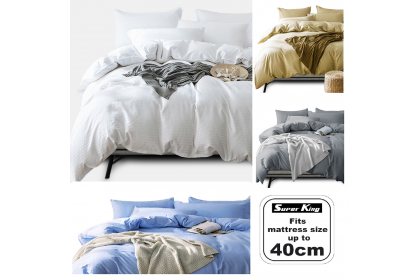 [100% Cotton] Essina Super King 40cm Colour Palette Fitted Bed sheet set Plain & Hotel Cadar 680TC