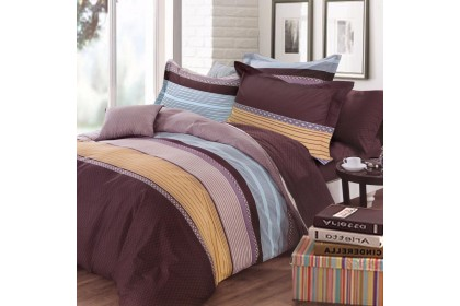 Essina 100% cotton 620TC Fitted Bedsheet set with Quilt Cover Bailey