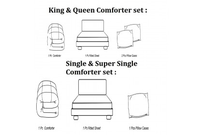 Cozzi Magic Colour Microfiber Plush Fitted Bedsheet cadar King with Comforter White Plain