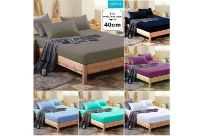[100% Cotton]Essina High Mattress 40cm Candies Fitted Bed sheet set with 2 pillow case Plain & Hotel Collection