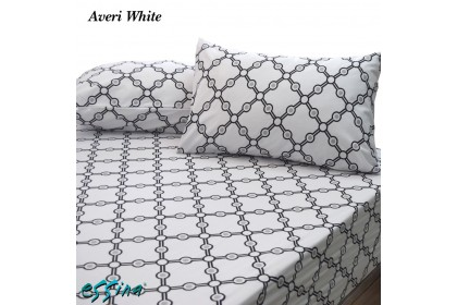 Essina Averi White Comforter & Fitted Bed sheet set (100% Cotton , 620TC , Valencia Collection)