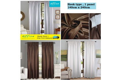 CLEARANCE STOCK ! Essina Semi Blackout Solid Colour French Pleated Curtain  1.4M (W) x 2.4M (L) - 1 PANEL ( HOOK TYPE)