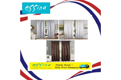 READY STOCK : Essina Semi Blackout French Pleated Curtain 1 Layer 1.4M (W) x 2.4M (L) - 1 PIECE ( HOOK TYPE - 3 COLOUR AVAILABLE)