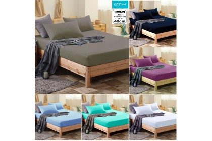 Essina Super King 40cm Candies Fitted Bed sheet set with 2 pillow case Plain & Hotel Cadar Super King 100% Cotton 620 thread counts (fit 16 inch High Mattress)