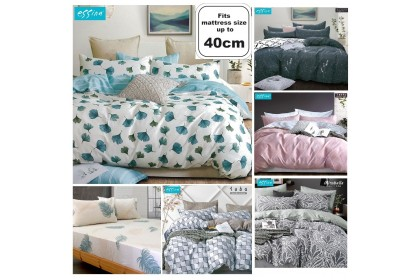 [100% Cotton]Essina Super King 40cm Quilt Cover & Fitted Bedsheet set High Mattress Modern & Stylish Valencia Collection