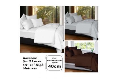 """[HIGH MATTRESS] Cozzi 40cm Rainbow Quilt Cover + Fitted Bed sheet set 16"""" High Mattress King / Queen / Super Single"""