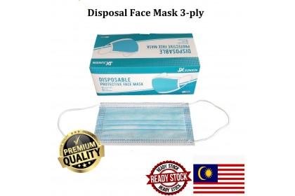 { READY STOCK } 50 Piece Grade 3 LAYER Disposable Face Mask Non Woven Mouth Cover Anti Respirator Protect Filter