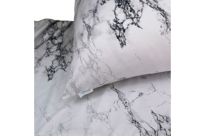 Essina Marble Fitted Bed Sheet with Pillow Case Cadar Microfiber 500TC Set King/Queen / Super Single (13  High Mattress)