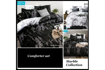 Essina Marble Comforter & Fitted Bed Sheet set 500TC Cadar Microfiber Set Super King/King / Queen /Super Single / Single