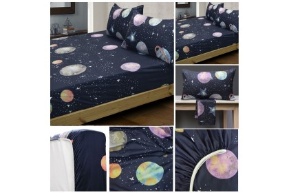 [NEW] Essina Arcadia Modern Style 500TC Fitted Bed Sheet with Pillow case only, Cadar King / Queen / Super Single [ Bohemia , Violeta , Octave , Cosmic , Origami ]