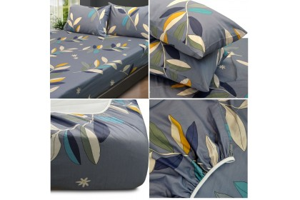 [100% Cotton ]Essina Pictorial Collection 620TC  Modern Style Fitted Bed Sheet Cadar Super King/King/Queen/Super Single/Single