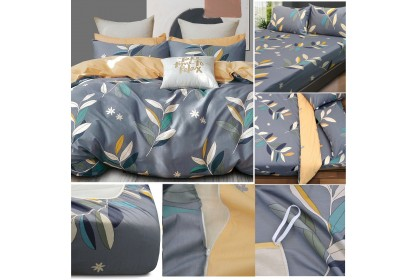 [100% Cotton ]Essina Pictorial Quilt Cover+Fitted Bedsheet set 620TC Cadar set King/Super King/Queen/Single/Super Single