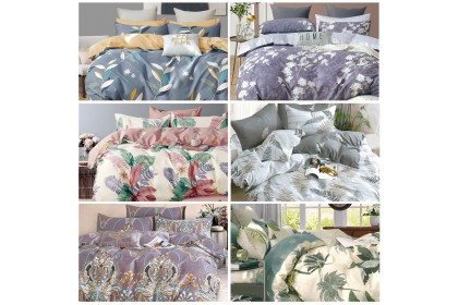 [100% Cotton]Essina Pictorial Collection Comforter & Fitted Bed Sheet 620TC [Size Super King/Queen/King/Super Single]