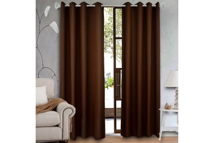 1 PIECE Essina Eyelet Plain Colour Curtain 140cm(W) x 260cm(L) - COLOURS (RING TYPE)