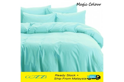 [CNY 2020] Cozzi Magic Colour Quilt Cover & Fitted Bed Sheet set Cadar  King / Queen / Super Single Plain Microfiber