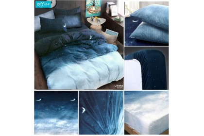 Essina Arcadia 500TC Quilt Cover & Fitted Bed Sheet set Cadar Queen/ King / Super Single Modern Style  ( 33cm high mattress)