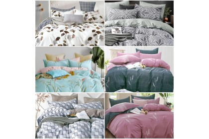 Essina Comforter & Fitted Bed Sheet Modern & Stylish Design 100% Cotton 620TC Cadar Queen / King / Super Single ( Valencia Collection ) 6 Design Available