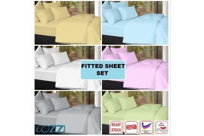 Cozzi 40CM Rainbow Plain Colour Microfiber Plush Fitted Bed Sheet with Pillow Case set Cadar size King / Queen -  (16 Inches deep pocket )