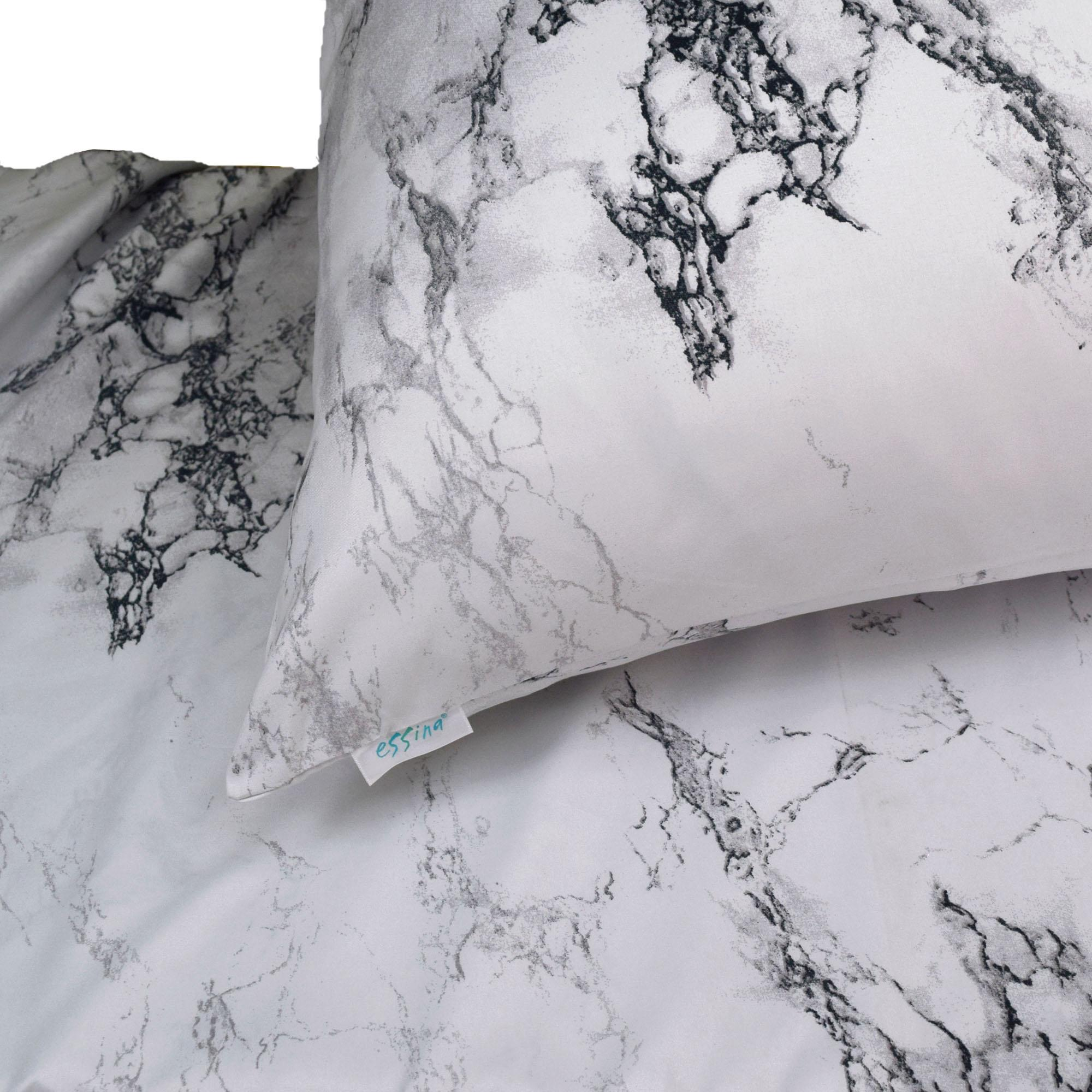 Essina Marble Quilt Cover & Fitted Bed Sheet set Cadar Microfiber Set King / Queen / Super Single ( 33cm high mattress )