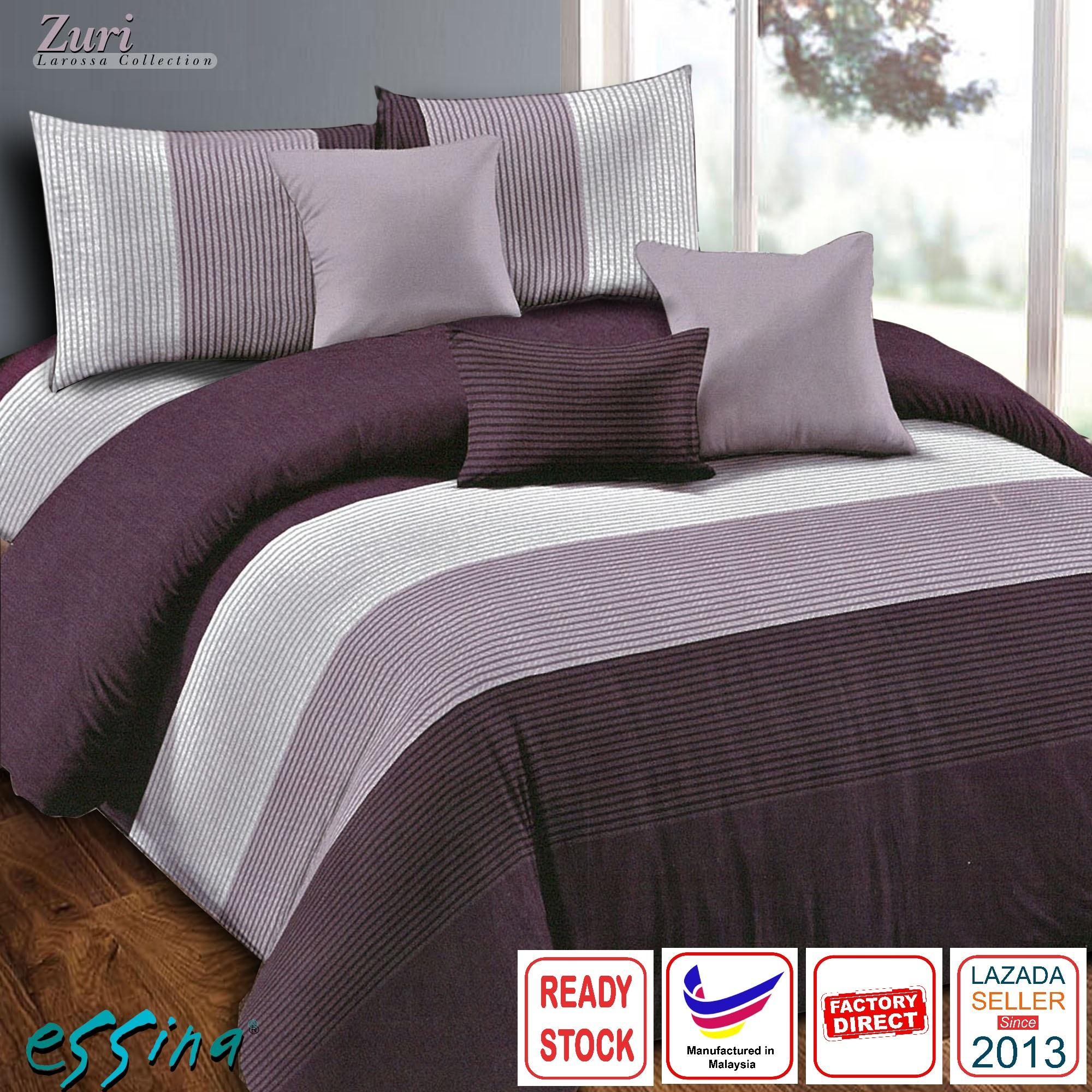 Essina Zuri Modern Design Quilt Cover & Fitted Bed Sheet set Microfiber Plush Fitted Bedsheet Cadar Queen / King / Super Single ( Larossa Collection )