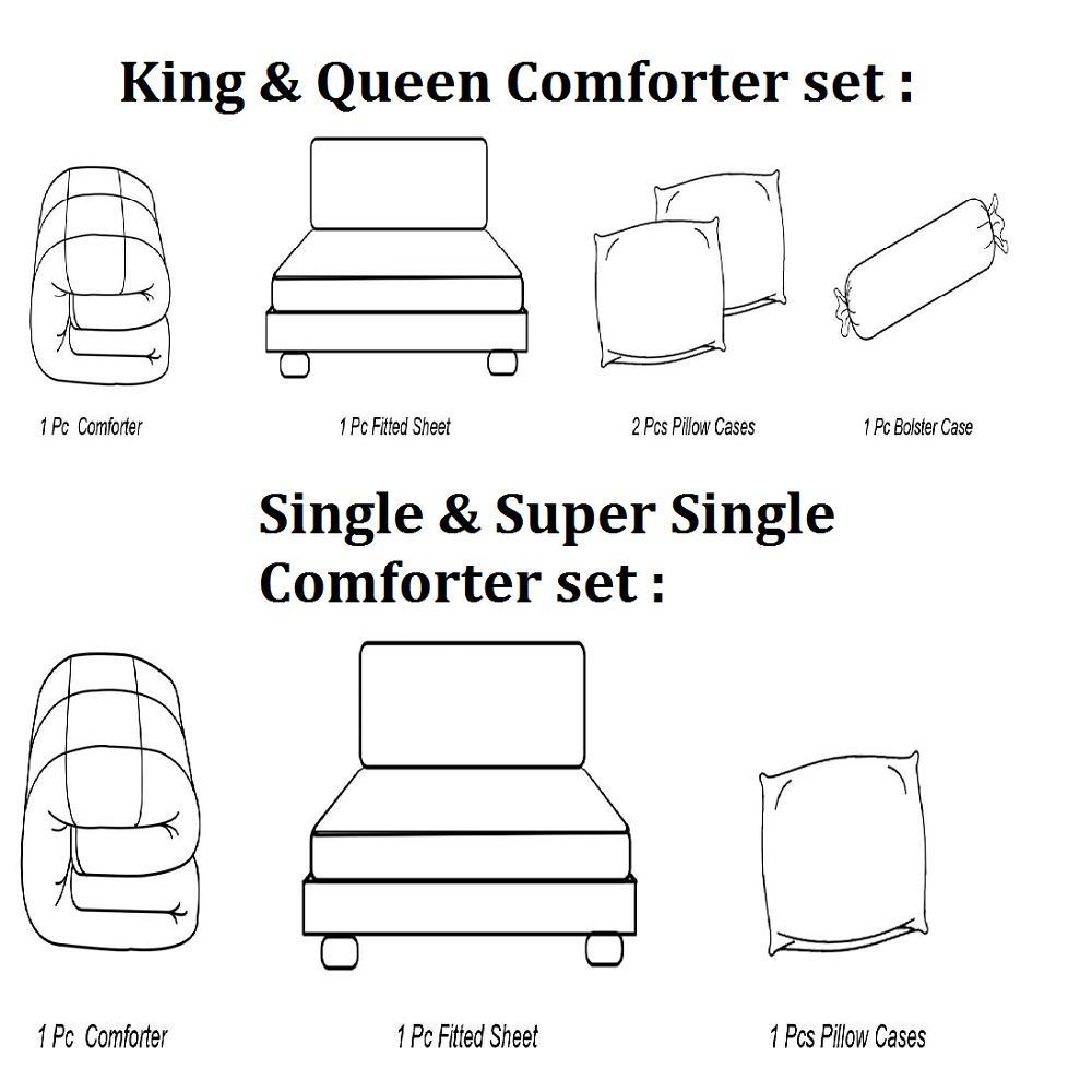 Essina Lucinda Grey Comforter & Fitted Bed Sheet set 100% Cadar Cotton King / Queen / Super Single