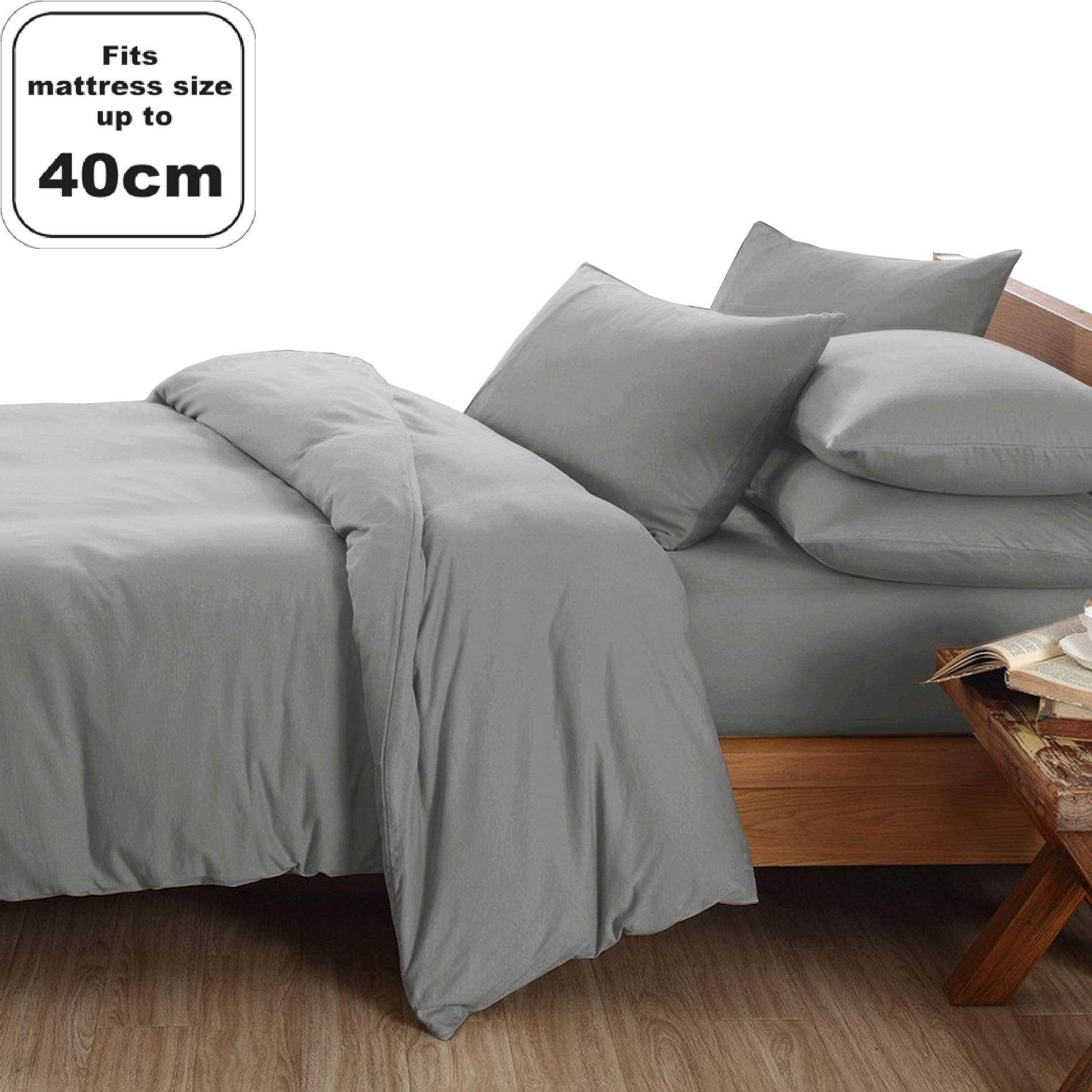 Essina Candies 100% Cotton Fitted Bedsheet set with Quilt Cover (40cm-High mattress)