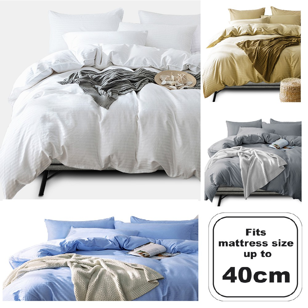 [100% Cotton ]Essina 40cm Palette Quilt Cover & Fitted Sheet 680TC Fitted Bedsheet (King /Queen) Plain Hotel