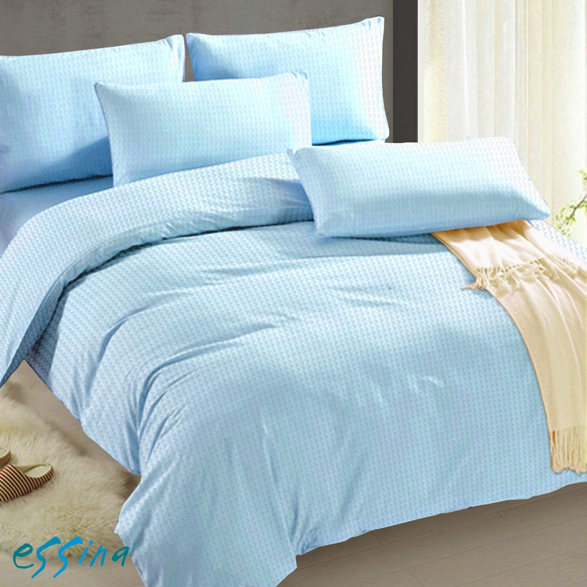 Essina Watermark Microfiber Plush Fitted Bedsheet Cadar Plain Color King / Queen / Super Single