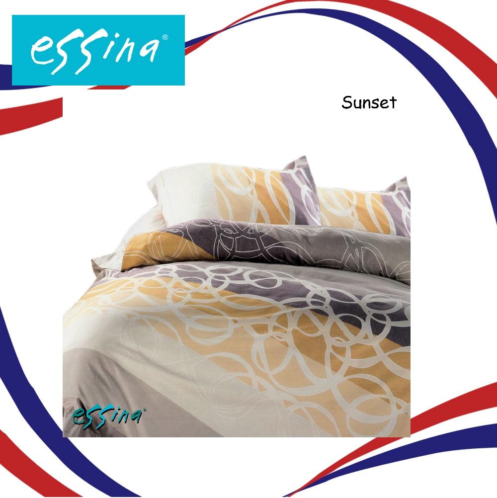 Essina Sunset Quilt Cover & Fitted Bed Sheet set Cadar King / Queen 100% Cotton 620TC 40cm High Mattress