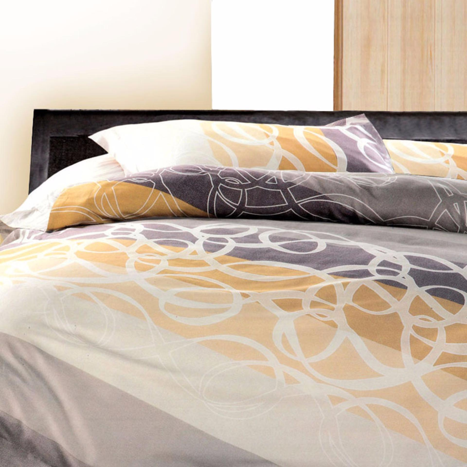 Essina Sunset Quilt Cover & Fitted Bed Sheet set Cadar King / Queen 100% Cotton 620TC 40cm High Mattress