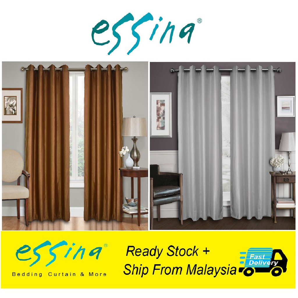 1 PIECE : ESSINA PREMIUM EYELET CURTAIN BLACKOUT 140CM X 240CM - CANVAS ( 2 COLOURS AVAILABLE GREY / BROWN )