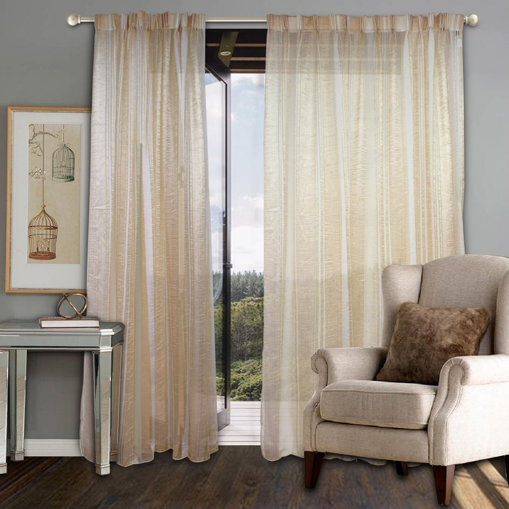Essina Sesame Sheer 4.5 Panels French Pleat Sliding Door Day Curtain