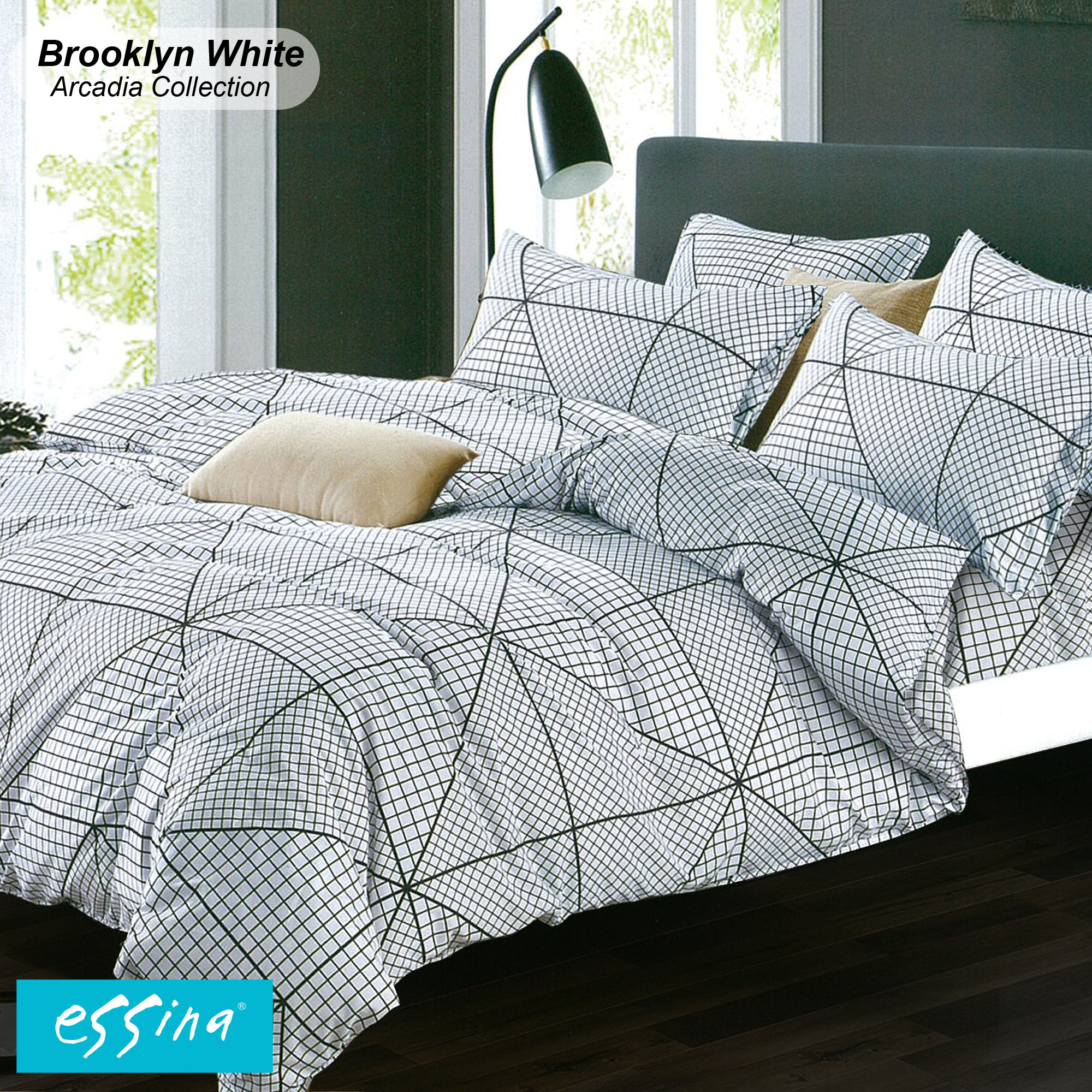 Essina Brooklyn White Fitted BedSheet with Pillow Case only Cadar Queen / King / Super Single / Single