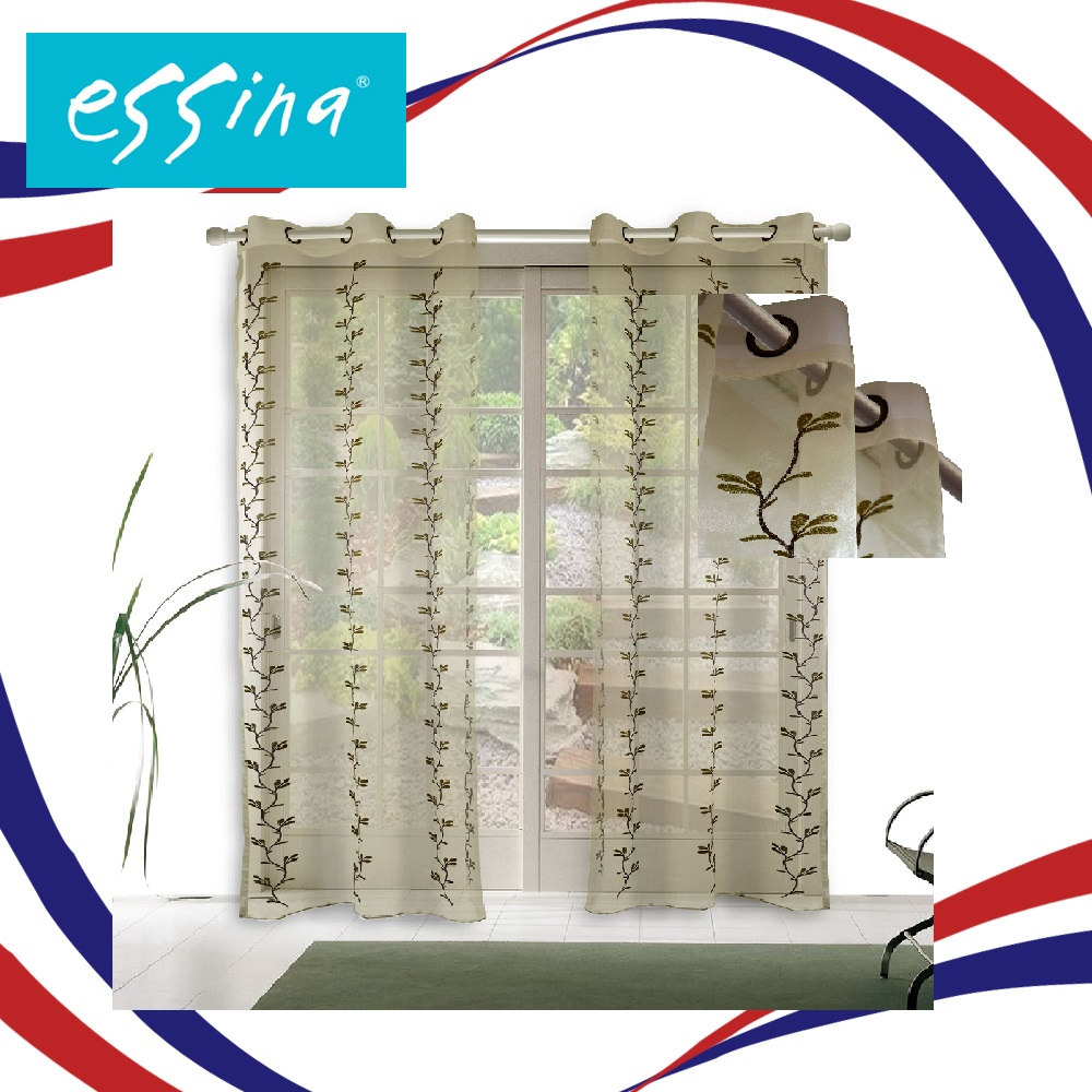 Essina Eyelet Embroidery Sheer Curtain 140cm x 260cm - Legacy (1 PANEL) (Clearance Sale Curtain)