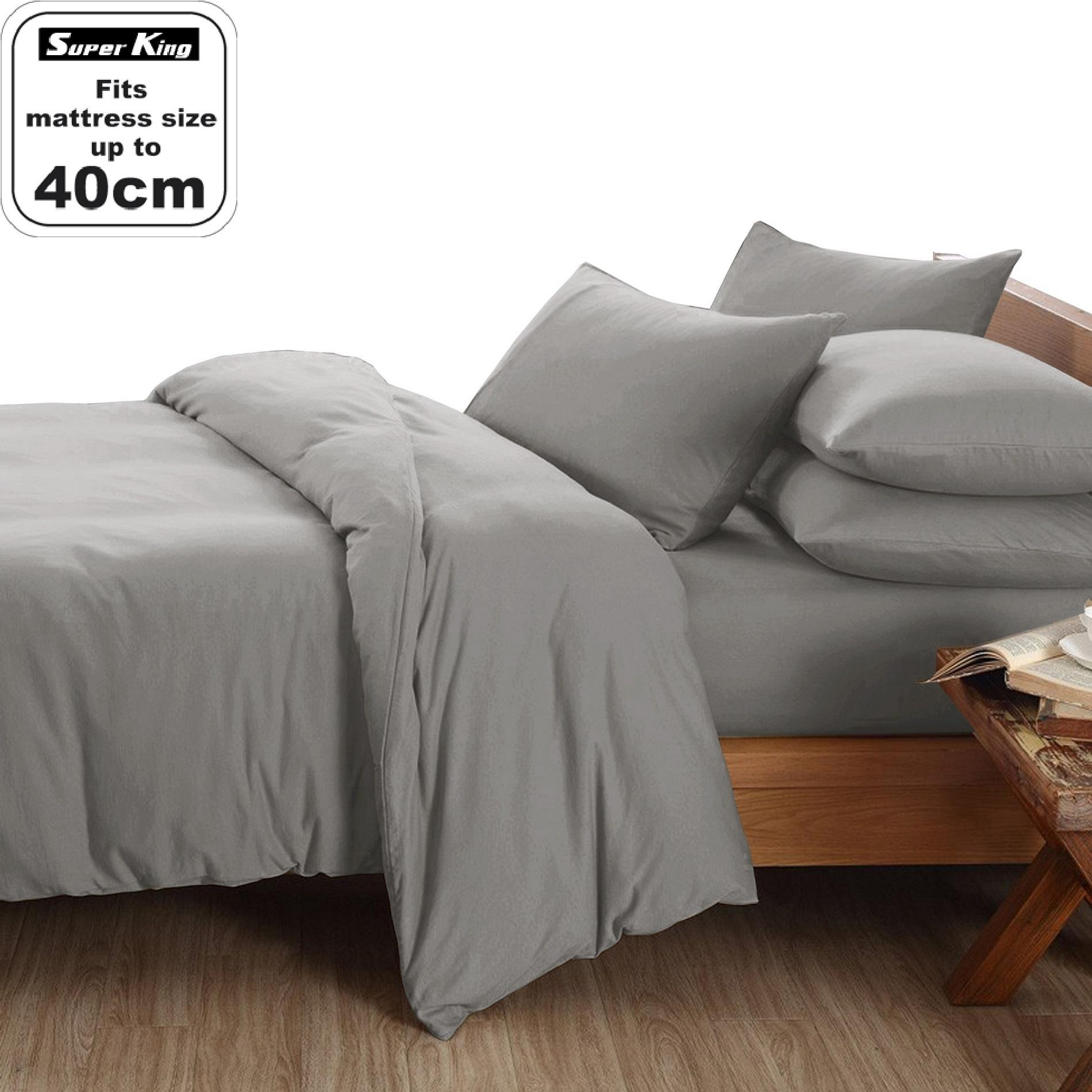 Essina Super King 40cm Candies Quilt Cover & Fitted Bed sheet set Plain & Hotel Cadar Super King 100% Cotton 620 thread counts (fit 16 inch High Mattress)