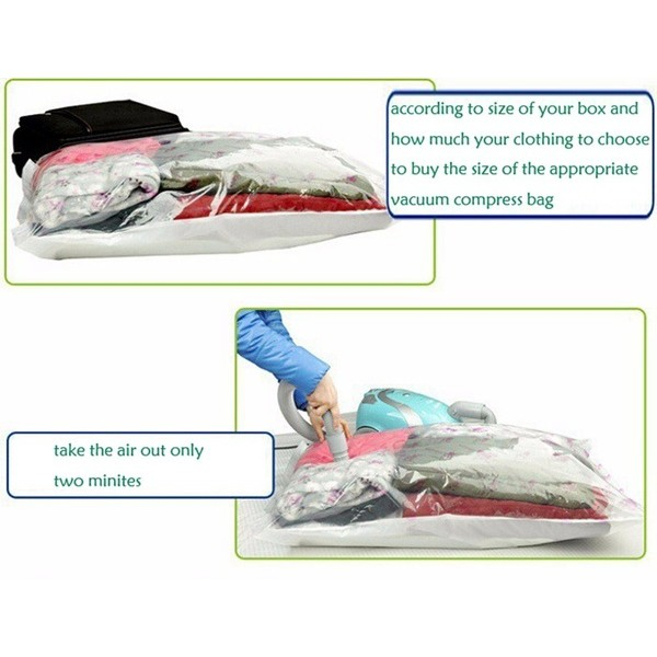 3 piece x (60cm x 80cm) Storage Bag Large Space Saver Saving Storage Vacuum Seal Compressed Organizer