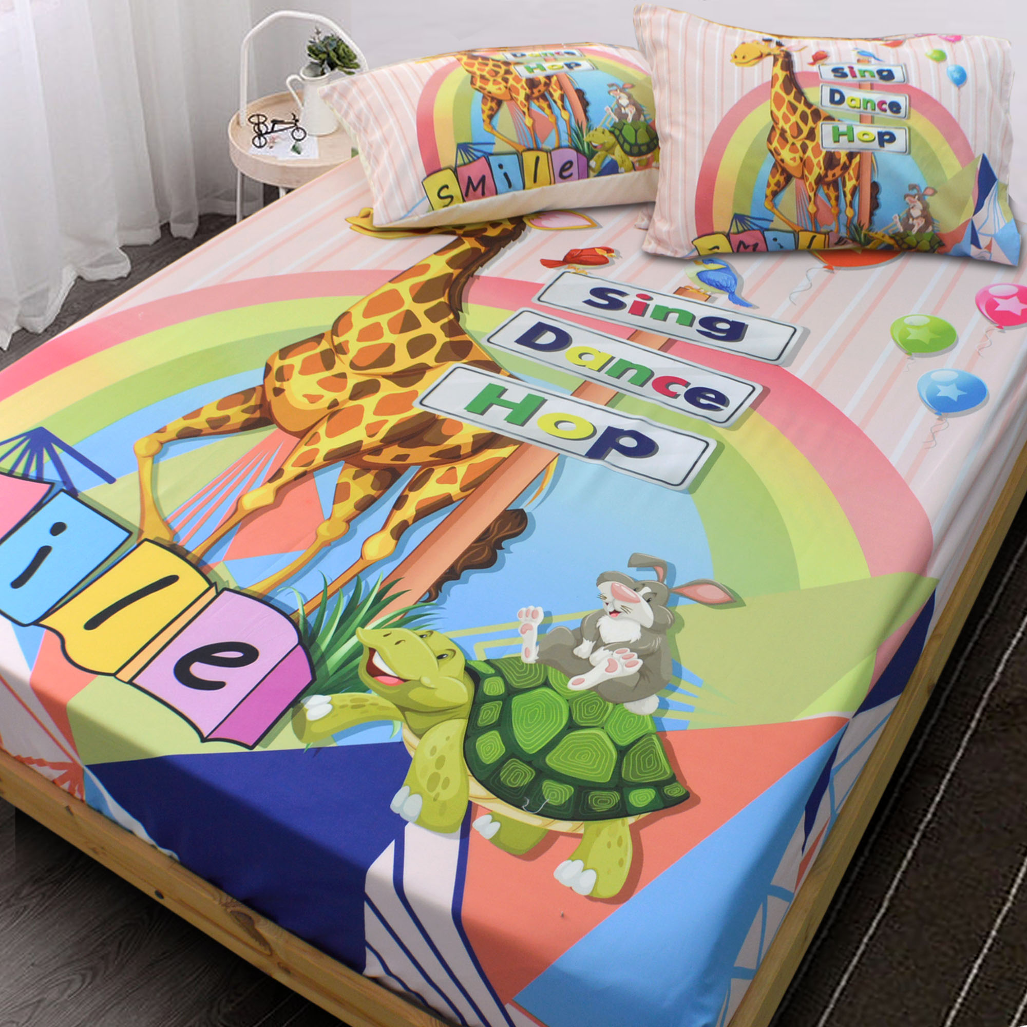 NEW Essina Kids 1 Fitted Bed sheet & 2 Pillowcase Panel Print Set Bambino Collection