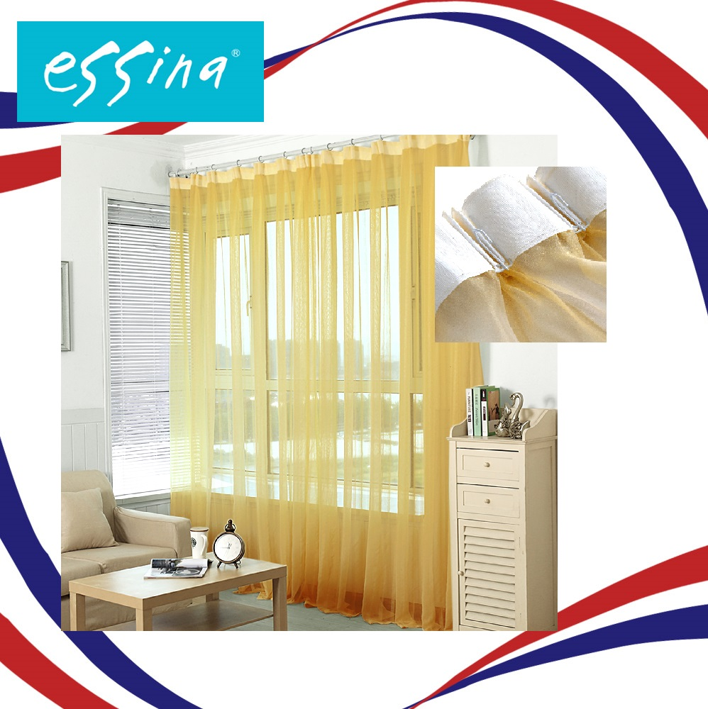Essina French Pleated Hook Curtain Sheer 1 Layer Lacey Gold ( 2 panel window / 4.5 Sliding Door available ))