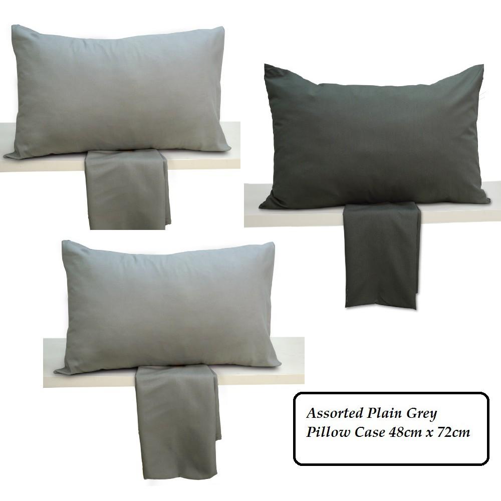 Cozzi Microfiber Plain Grey Pillow Case 1 piece (PILLOW NOT INCLUDED)