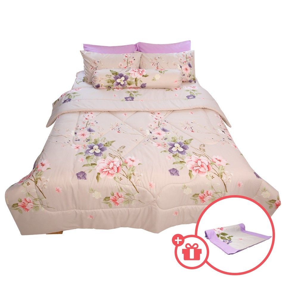 Essina Suria Comforter & Fitted Bed sheet set Cadar King / Queen 40cm High Mattress