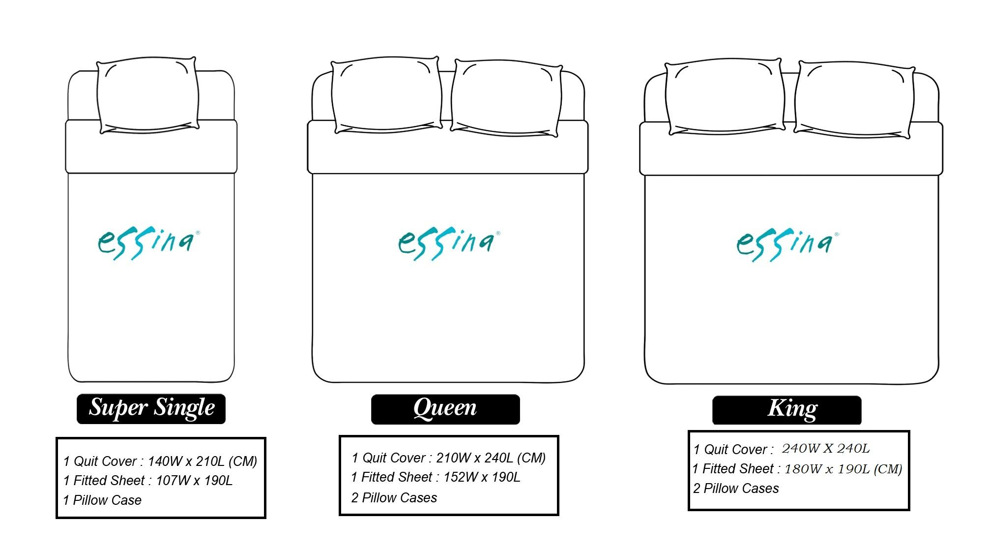Essina 100% Cotton 620TC Cadar Fitted Bedsheet Queen 40cm Mattress with Quilt Cover - Larnaca ( Modern , Contempo )