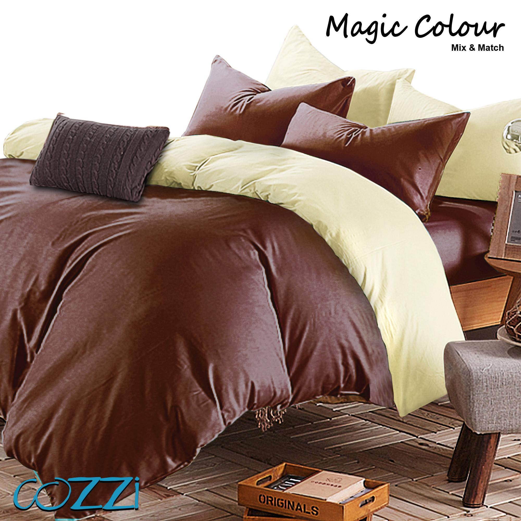Special Edition : Cozzi Magic Colour Cadar Bedsheet with comforter King / Queen Plain Microfiber ( Brown/Beige)